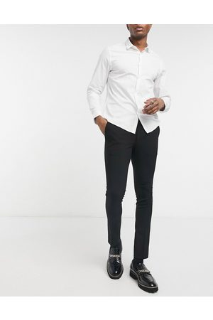 Bolongaro Plain skinny suit trousers in black