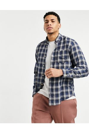 Selected Check shirt in navy & beige