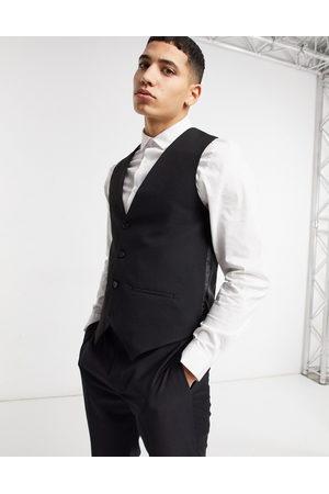 Bolongaro Plain skinny waistcoat in black
