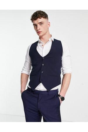 Bolongaro Plain skinny waistcoat in navy