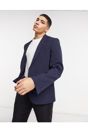 Bolongaro Plain skinny suit jacket in navy