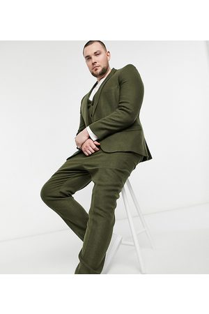 ASOS Muži Úzké nohavice - Plus skinny wool mix suit trousers in khaki twill-Green