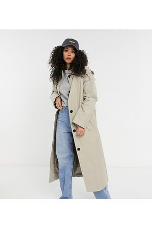 ASOS Tall hero oversized boyfriend trench coat in stone-Green
