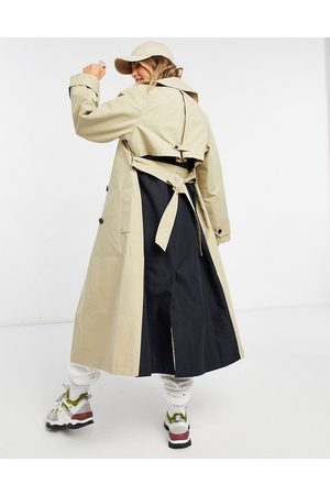 ASOS Spliced trench coat in black and stone-Multi
