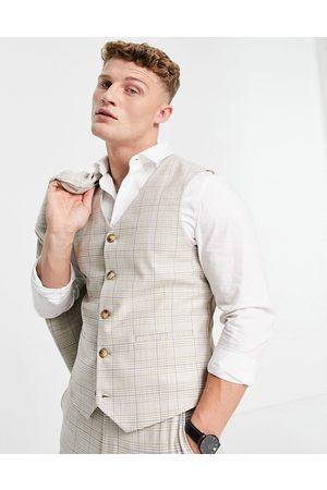 ASOS Summer wedding range super skinny suit waistcoat in camel check with stripe-Beige