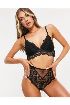 ASOS Rosie lace longline padded bra in black