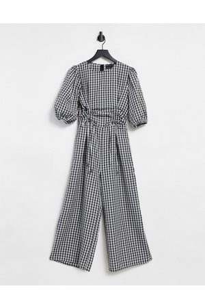 ASOS Ruched channel puff sleeve cullotte jumpsuit in mono gingham-Multi