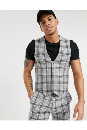 ASOS Muži Společenské vesty - Super skinny suit waistcoat in grey tartan check