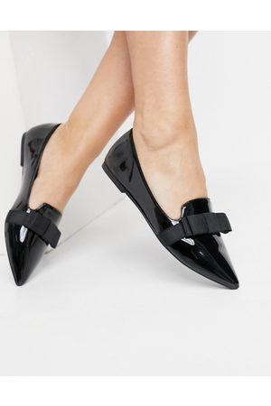 ASOS Luan bow pointed ballet flats in Black patent