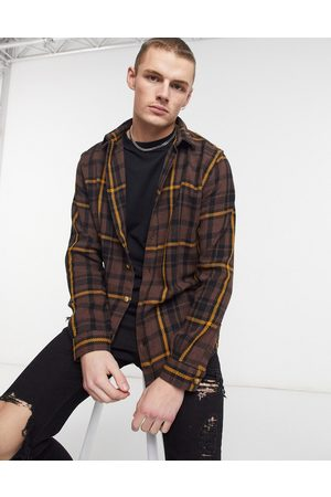 River Island Long sleeve check shirt in brown