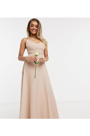 ASOS ASOS DESIGN Petite Bridesmaid cami maxi dress with ruched bodice and tie waist in Blush-Pink