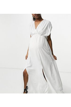 ASOS ASOS DESIGN maternity recycled gathered detail maxi beach dress in white
