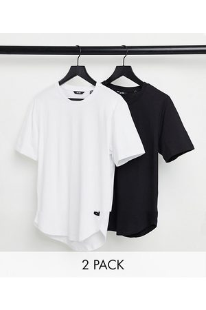 Only & Sons 2 pack longline curved hem t-shirt in black & white-Multi