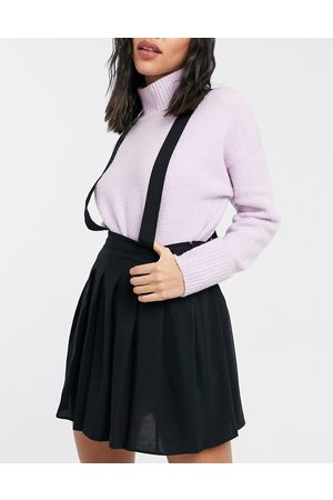 ASOS Pinafore with pleated mini skirt in black