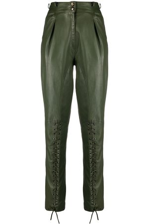 Dior 1990s lace-up leather trousers