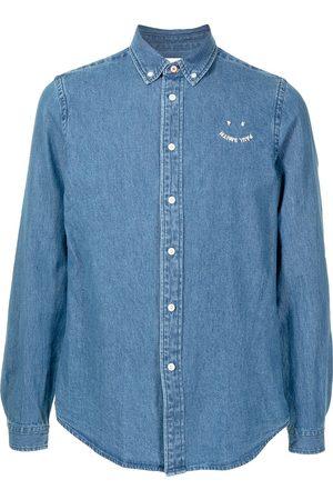 Paul Smith Muži Džínové košile - Smile embroidered logo denim shirt