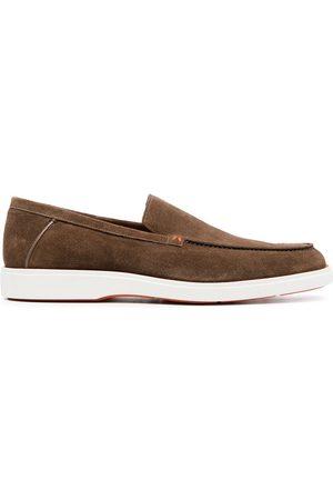 santoni Suede almond toe loafers