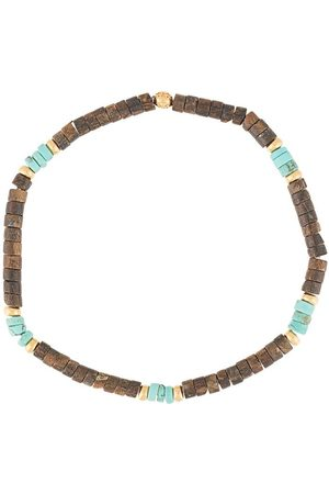 Nialaya Coconut heishi, turquoise and gold-tone beaded bracelet
