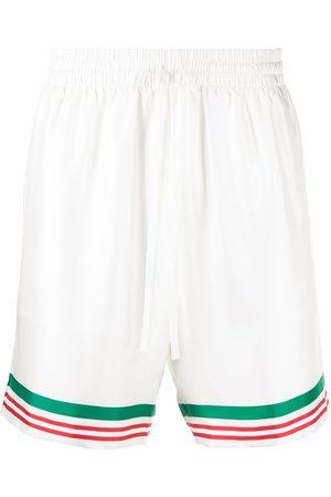 Casablanca Tennis striped trim silk shorts