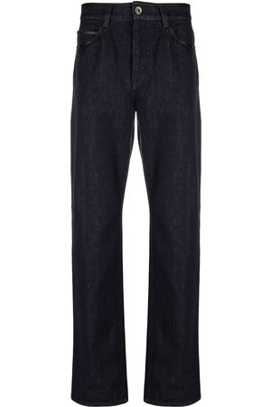 Salvatore Ferragamo Leather-trim straight-leg jeans