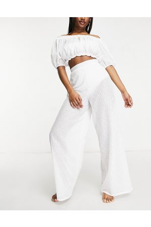 Fashion Union Exclusive wide leg high waist beach trousers in white lace