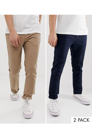 ASOS 2 pack skinny chinos in navy & stone save-Multi
