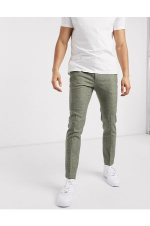 ASOS Super skinny smart trousers in mid green dog tooth-Grey