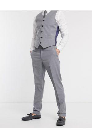ASOS Slim suit trousers in mid grey-Navy