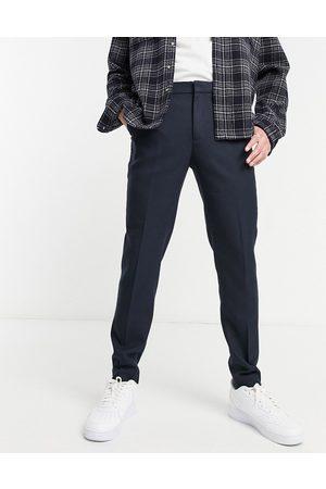 ASOS Wedding super skinny suit trousers in wool look in navy