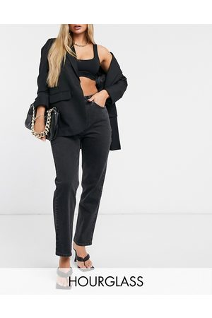 ASOS Hourglass high rise stretch 'slim' straight leg jeans in washed black