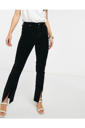 ASOS High rise 'sassy' cigarette jeans with split front in black cord