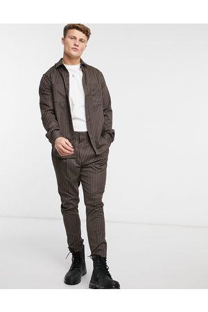 ASOS Tapered smart trouser in charcoal pinstripe-Brown