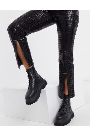 ASOS High rise 'sassy' cigarette jeans with split front in black croc