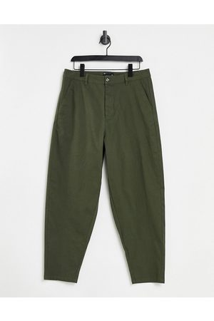ASOS Oversized tapered chinos in khaki-Green