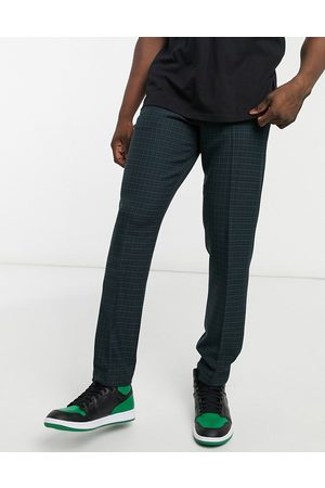 ASOS Skinny suit trousers in mini blackwatch tartan check in navy and green