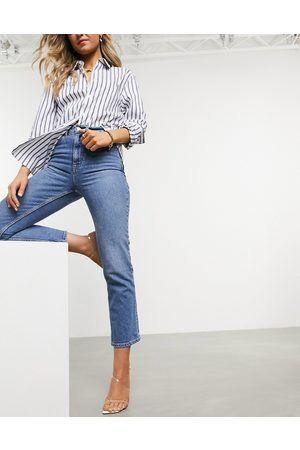 ASOS High rise stretch 'slim' straight leg jeans in midwash-Blue