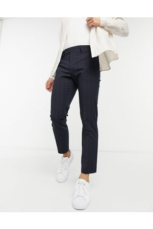 ASOS Skinny ankle grazer smart trousers in navy pin tuck