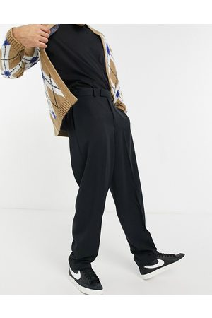 ASOS High waist slim smart trousers in black