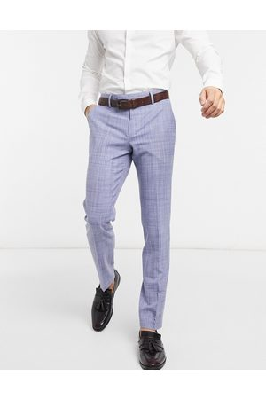 ASOS Wedding skinny suit trousers in navy crosshatch