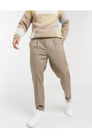 ASOS Tapered smart trouser with turn up in camel twill-Beige