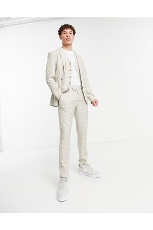 ASOS Summer wedding range super skinny suit trousers in camel check with stripe-Beige