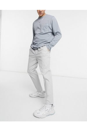 ASOS Cigarette chinos with pleats in light grey-Green