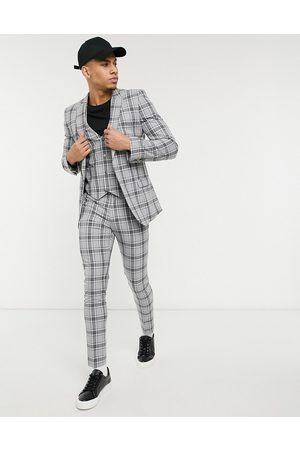 ASOS Super skinny suit trousers in grey tartan check