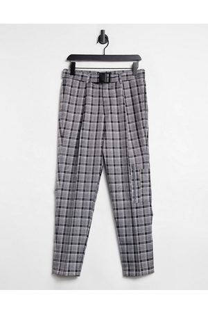 ASOS Tapered smart cargo trousers in grey check with multi pockets