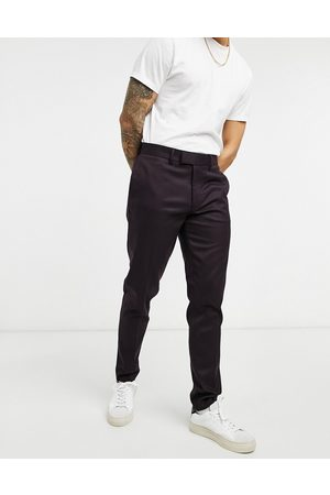 ASOS Skinny smart trouser in burgundy twill-Red