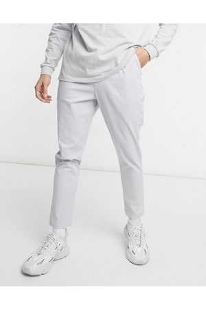 ASOS High waisted cigarette chino trousers in light grey-Stone