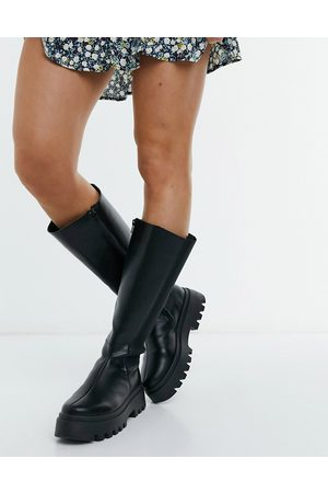 ASOS Cora chunky knee boots in black