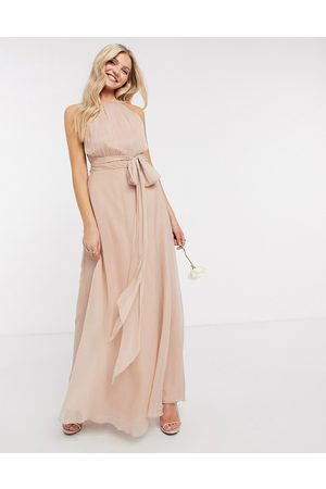 ASOS Bridesmaid ruched pinny maxi dress with tie waist detail in blush-Pink