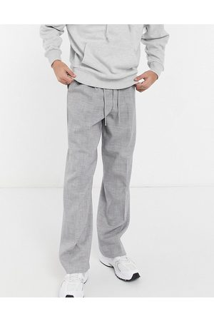 ASOS Wide leg smart jogger in grey cross hatch