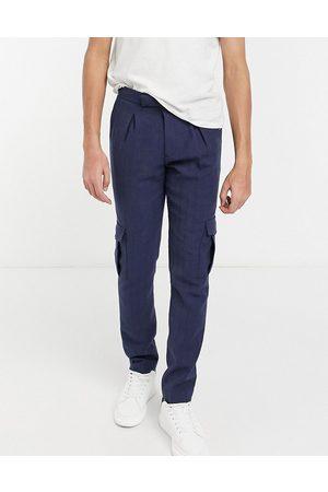 ASOS Muži Kapsáče - Skinny cargo wool mix smart trouser in navy herringbone